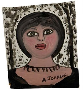 "Anderson Johnson-""Woman"". Paint On Pressboard, Sign"