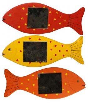 "Roy Minshew-""Untitled"". Paint On Wood. Three Fish M"