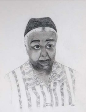 """Mary Anderson Cayce-""""Ethel Waters"""". Pencil On Paper"""
