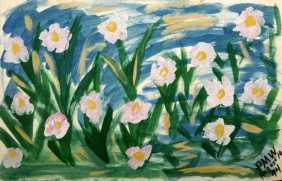 """Pauline Willis-""""Flower Bed"""". Paint On Poster, Signe"""