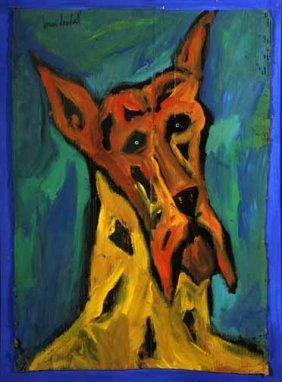 "Brian Dowdall-""Great Dane"". Paint On Cardboard And"