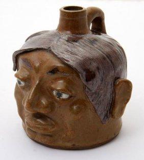 """JW Fannin, """"Indian Face Jug""""  Fired And Glazed Potte"""