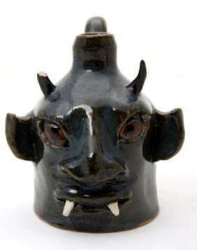 "Lin Craven ""Fanged Devil Face Jug"".  Fired And Glaz"