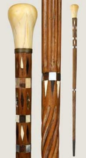 Inlaid Sailor Made Ivory Cane-Mid 19th Century-A Mas