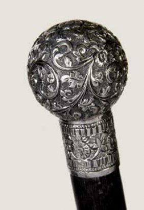 Sterling Dress Cane-Circa 1880-A High Relief Ball A