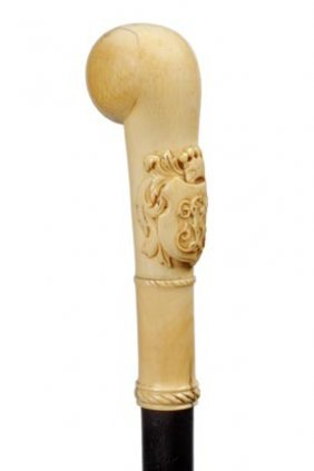 Heraldic Ivory Crest Cane- Victorian- Finely Carved
