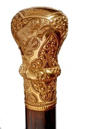 Fancy Gold Dress Cane- Victorian- Gold Filled Handle