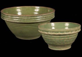 Mixing Bowls, A Pair Of Green Salt Glazed Bowls In