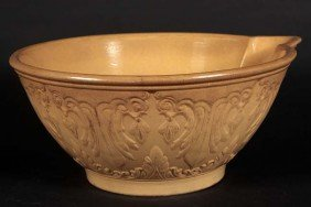 Large Yellowware Mixing Bowl With Spout, Signed On