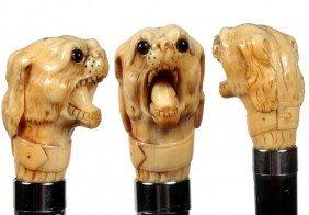 Ivory Dog Cane-Late 19th Century-Carved Elephant Ivo