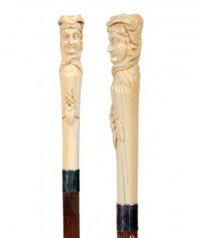 Ivory Portrait Cane-Ca. 1875-Carved Elephant Ivory L