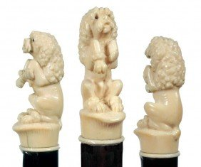Carved Ivory Dog Cane-Early 20th Century-A Begging I