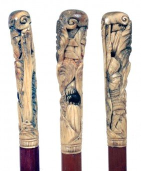 Asian Antler Cane-Ca. 1890-The Stag Handle Is Carve