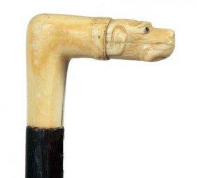 Ivory Dog Dress Cane-Late 19th Century-Carved Ivory