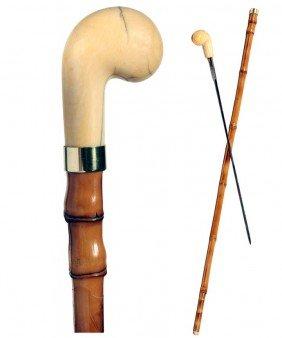 Ivory Sword Cane-Ca. 1875-A Stylized Ivory Pistol G
