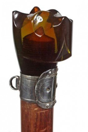 Carved Amber Dog Dress Cane-Art Deco-The Carved Head