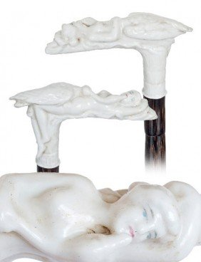 Viennese Porcelain Mildly Erotic Cane-Late 19th Cen