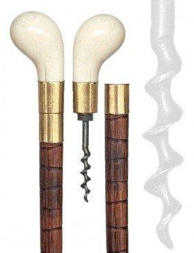 Ivory Cork Screw Cane-Ca. 1890-Plain Pistol-grip Iv
