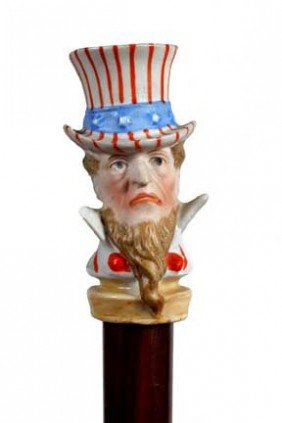 Uncle Sam Bisque Cane-Circa 1900-An Unusual Bisque-