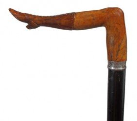 Briarwood Naughty Leg Cane-Late 19th Century-A Carv