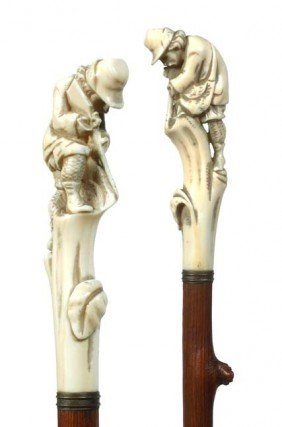 Antique Cane And  Walking Stick Ivory Hunter W/gun