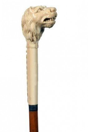Antique Cane  Ivory Lion With Chain