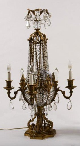 Crystal And Bronze Banquet Lamp