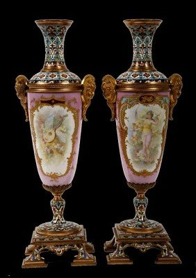 12. Champleve /Porcelain (probable Sevres Vases) Pair