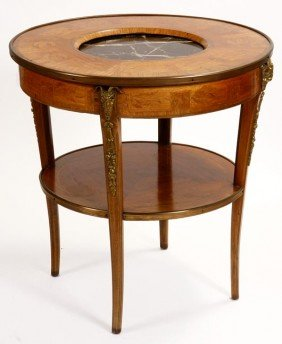 15. French Empire Table-19th Century-A Round Inlaid