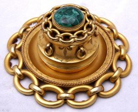 18. Gilt Bronze And Malachite Ink Well-Louis Philli