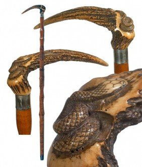 61. Japanese Snake Cane-Circa 1900-A Carved Stag Ha