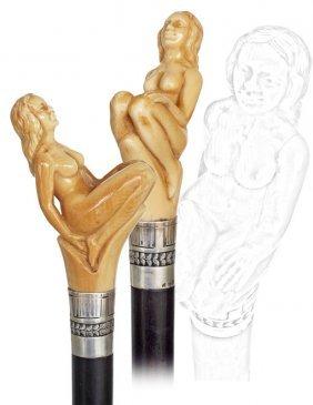 11. Erotic Nude Cane-Ca. 1895-A Large Ivory Art Nou