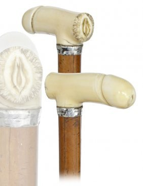 14. Erotic Ivory Cane-Early 1900s-Ivory Handle �H