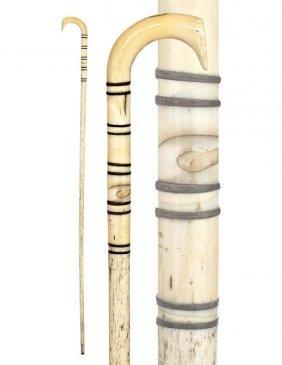 20. Whalebone Nautical Cane-Ca. 1865-A Long Semi-cr