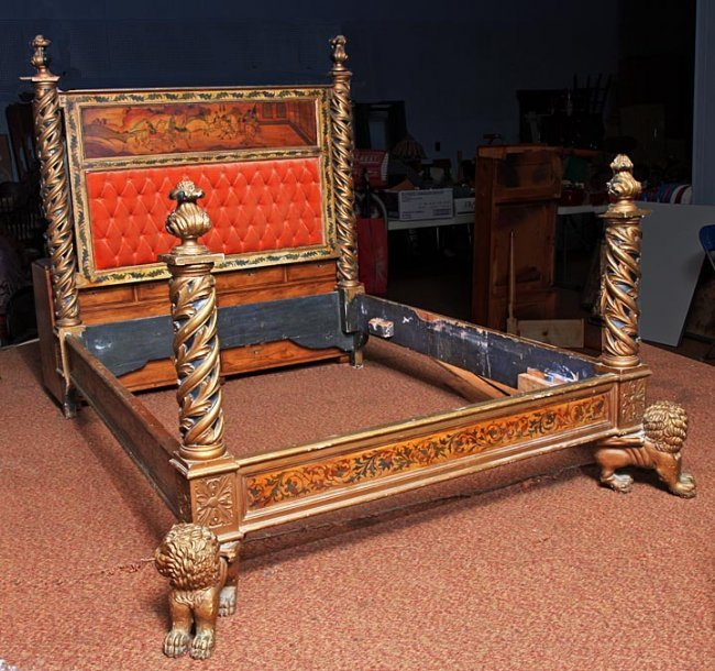 158 carved lions italian medieval style bed lot 158