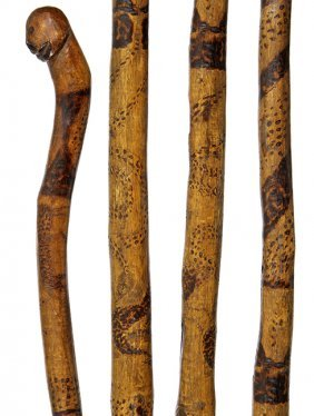 19. Folk-art Cane- Ca. 1850- An Interesting Chip-carved