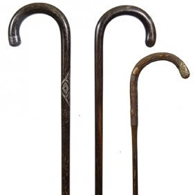 70. Three Antique Crook Handle Canes- Ca. 1900- Average