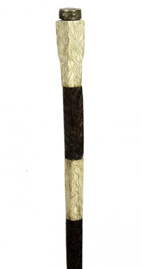 193. Ivory And Ebony Cane- Ca. 1880- An Unusual Design