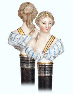 4. Kpm Porcelain Indoor Cane-ca. 1860-porcelain Knob