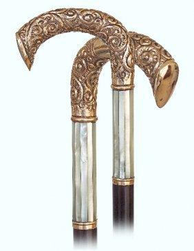 22. American Dress Cane-ca. 1900-gold Rolled L-shaped