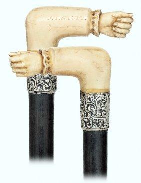 37. Walrus Ivory Fist Cane-birmingham Hallmarks