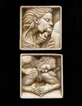 79. Two Ivory Erotic Panels-ca. 1900-matching Pair Of