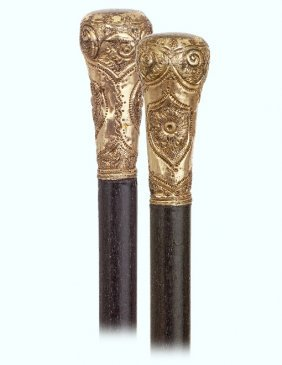 115. An American Day Cane-ca. 1880-small Gold Rolled