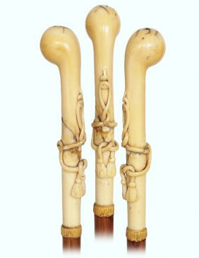 127. Ivory Day Cane-ca. 1870-ivory Handle Fashioned In