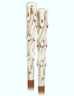 133. Ivory Day Cane-ca. 1900-long And Tapering Ivory