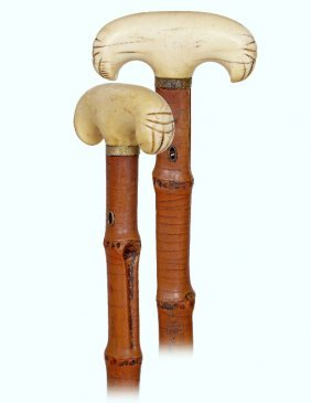 136. Early Ivory Cane-ca. 1840-fashioned In A Basic