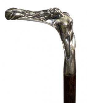 154. Erotic Silver Nude Cane- Late 20th Century- A