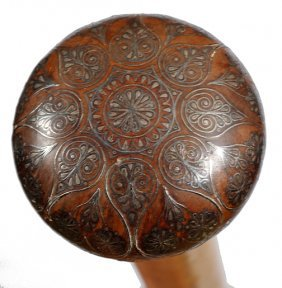 74. Shell Inlaid Cane- Dated 1911- A Signed Brigg