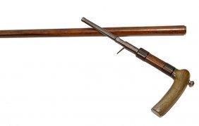 80. Percussion Gun Cane- Ca. 1885- A Horn Handle