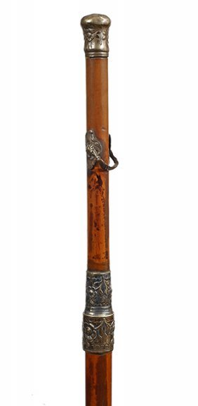 86. Silver Court Cane- Ca. 1740- A Fine Example Of An